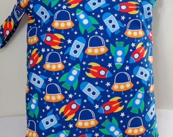 "Large wet bag. 13"" X 16"". Space Ship print .Heat sealed seams. Ready to Ship"