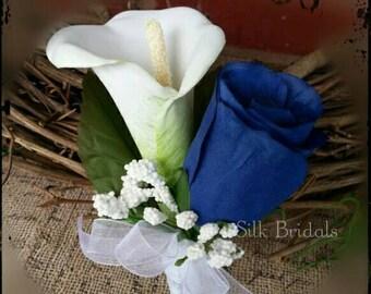 Royal blue white calla rose Boutonniere Groom groomsman father bridal silk wedding flowers prom homecoming graduation