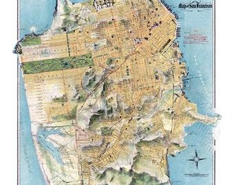 San Francisco California Bay Area Map Vintage 1900s Art Illustration - Digital Image