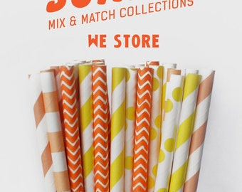 25 PAPER STRAW with free printable DIY Toppers - Sunset