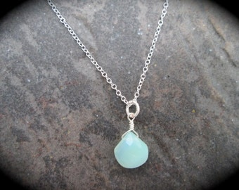 "Wire wrapped Aqua blue Chalcedony briolette necklace with 18"" sterling silver chain Sea blue Green wire wrapped briolette"