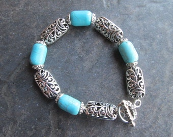 Turquoise bracelet with toggle clasp and silver filigree beads genuine gemstone bracelet