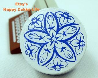Ceramics Rubber Stamp - White and Blue Porcelain - #5