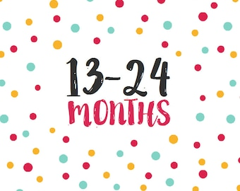 Add 2nd Year Stickers - Months 13-24 Monthly Stickers Baby Month Stickers
