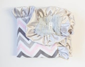 Soft Pink Grey Chevron Minky Baby Blanket Made To ORder