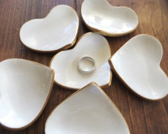 5 Wedding favors, heart ring dishes, Gold and White engagement party favors, earthenware pottery