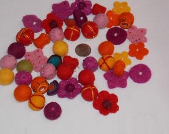 100% Wool Felt Balls and Flower Mix