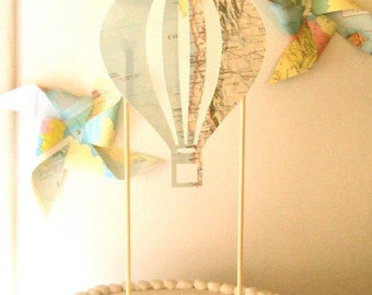 Hot Air Balloon Cake Topper, Vintage Map Hot Air Balloon, Wizard of Oz Party, Vintage Maps, Eco Friendly Party, Travel Theme Baby Shower