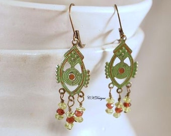 SALE Brass and Gemstone Earrings, Patinaed Brass Dangle Pierced Earrings. OOAK Handmade Earrings. CKDesigns.US