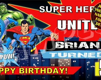 Super Hero, Superman, Batman, Hulk, Personalized Birthday Banner with free printable DIY Invitation - Email name age photo for any design