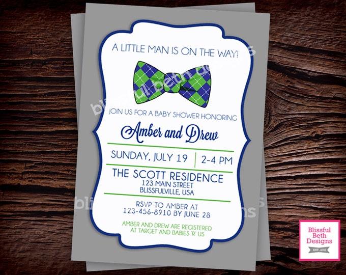 LITTLE GENTLEMAN INVITATION Bow Tie Boy Baby Printable Shower Invitation, Bow Tie Baby Invite, Gentleman, Bow Tie Boy Baby Shower Invitation