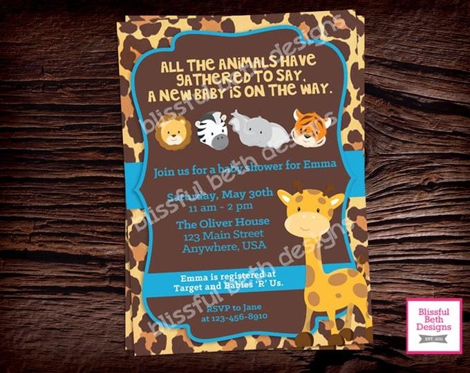 Safari Baby Shower, Animal Baby Shower Invitation, Safari Invitation, Animal Baby Shower, Safari Baby Shower, Animal Baby Shower Invite