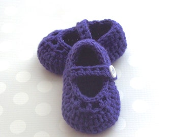 Crochet Baby Shoes, Baby Girl Booties, Purple Crochet Baby Booties, Infant Booties, Size 3 to 6 Months