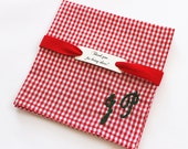 Red Gingham Pocket Square, Men's Initial Handkerchief, Monogram Pocket Square, Plaid Personalized Groomsmen Valentine's Gift, Embroidered