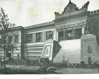 Pavilion of Mexico 1889 Exposition Universelle  Paris, Antique Engraving,  Black and White
