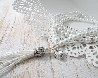 White Pearl Tasbih Tasbeeh 99 bead count