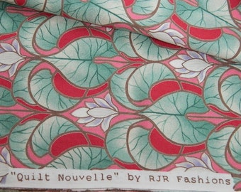Cotton Quilting Fabric, Destash Fabric, Sewing Supplies, Raspberry Pink, Quilting Cotton Fabric, Art Deco Style, Leaf Print Fabric
