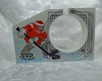 Hockey player wooden coin bank - Personalized Free