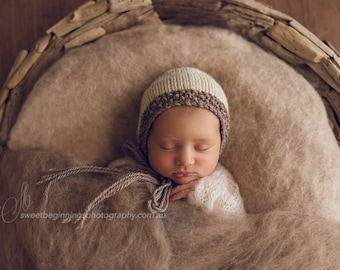 PDF Knitting Pattern - newborn photography prop two tone bonnet #35