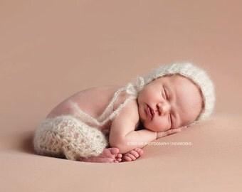 PDF CROCHET Pattern - newborn photography prop web spun light bonnet and pant set #115