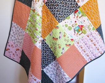 Modern baby quilt, girls, baby blanket, patchwork throw, nursery bedding, pink orange green