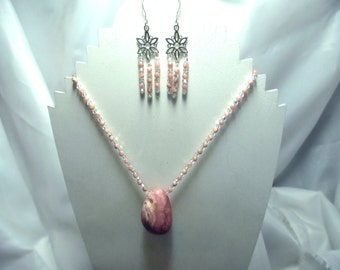 Pink rhodochrosite, sterling silver jewelry, sterling silver and Swarovski crystal necklace and earring set.