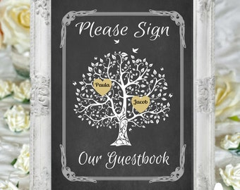 Please Sign Our Guestbook Art Print, Personalized Wedding Print, Wedding Guestbook Sign, chalkboard, Tree