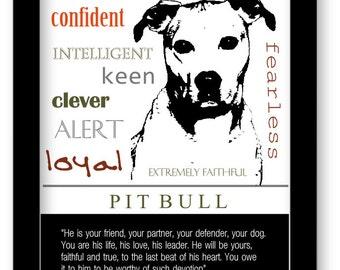 Pitbull Art, Pitbull Print, Subway Art, Quote, Modern Wall Decor, Black and White, Pet Lovers Gift