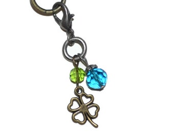 Zipper Pull Charm Four Leaf Clover Blue Green Crystal Bead Mixed Metals