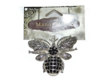 Black and White Bumble Bee Pendants Silver Black White Rhinestones Pendant  Craft Supplies Jewelry Supplies