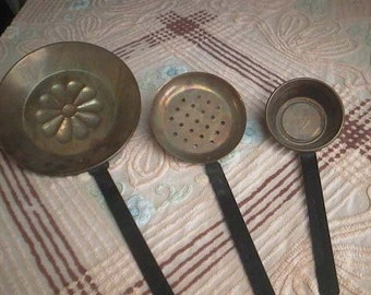 3 Vintage COPPER and IRON LADLES - Decorator Wall Hangings - Decorative Ladle