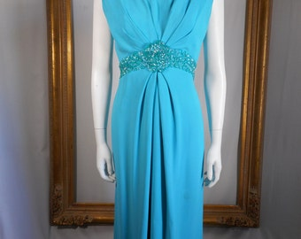 Vintage 1960's Emma Domb Turqouise Evening Dress - Size 10