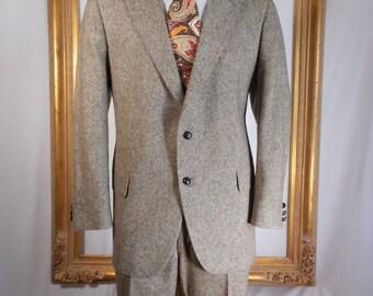 Vintage 1982 Adams Row Brown Tweed Suit - Size 45 Reg.