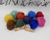 Hand dyed alpaca roving in jewel tones, fall shades alpaca, Wooly Buns Alpaca, 1 ounce assortment, needle felting supplies, wet nuno felting
