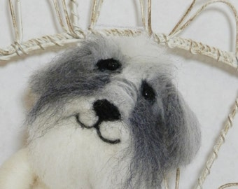 Needle felted sheep dog ornament, wool heart with bone, sheep dog ornament, Curly Furr, ready to mail Pet Pocket, gray white needle felt dog