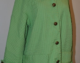 Vintage 60s Green COAT PINTUCKS TUXSTER All Purpose Coat A Looker Large Extra Large