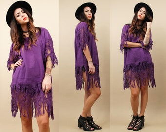 On Sale 70s Vtg Purple WOVEN Super Long FRiNGE Tunic Mini Dress / FESTiVAL Draped Oversized Kaftan Boho Hippie ETHNiC Shirt OSFM