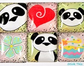Panda Magnets - Set of 6 - Glass Tile Magnets - Kitchen Organization