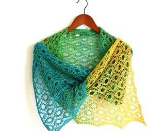 Handknit wrap,  knit wrap, knit shawl, spring scarf gradient cotton yellow green teal , ready to ship