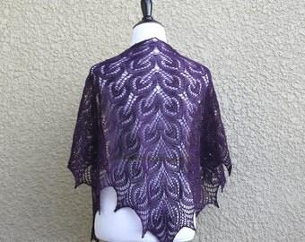 Knit shawl, wedding shawl, bridesmaids shawl, event shawl,  lace wrap, purple shawl, gift for her