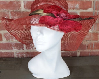 RESERVED  (do not buy) vintage antique faux horsehair gatsby hat with poppy applique