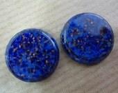 2 glass cabochons, Ø18mm, lapis lazuli blue, marbled