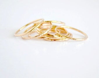 Stacking Rings Set of 3 Stackable Rings - 3 Gold Rings - Hammered or Smooth