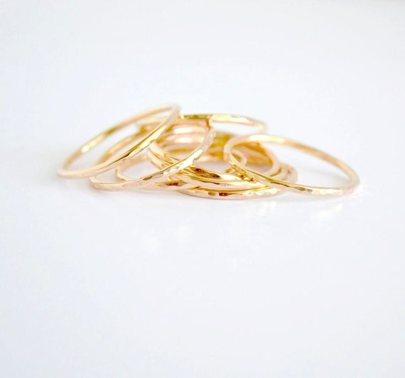 3 Gold Stackable Stacking Rings - 3 Rings - Stacking Rings - Stacking Band Set - 3 Layering Rings - 3 Plain Skinny Rings