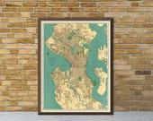 Old map of Seattle - Antique map - Vintage map -  Seattle map fine print - Large map