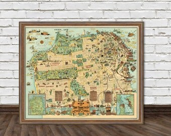Illustrated map of San Francisco - Old map  fine print - Funny map of San Francisco
