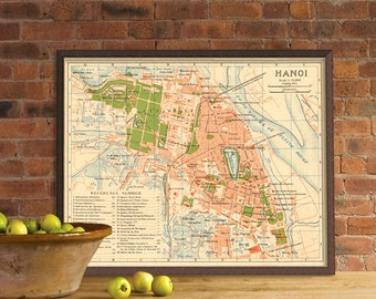 Map of Hanoi - Vintage map of Hanoi reproduction