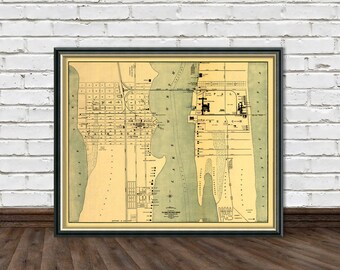 Map of Palm Beach  - Antique Palm Beach  map  fine giclee reproduction