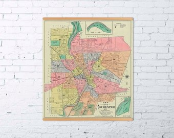 Rochester map - Old map of Rochester print - Archival print