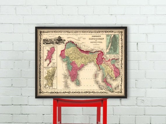 Vintage map of  India  - Hindostan map - Historic map archival print